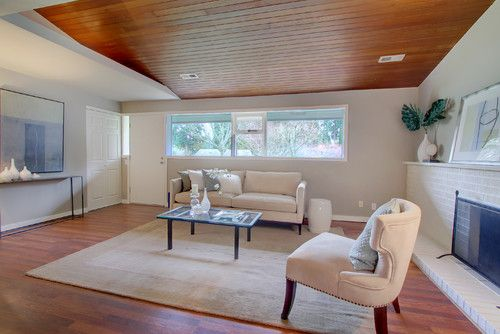 Wood Floor Modern Living Room Interior With Wooden Deck Ceiling And Wooden  Floor Decorating Ideas
