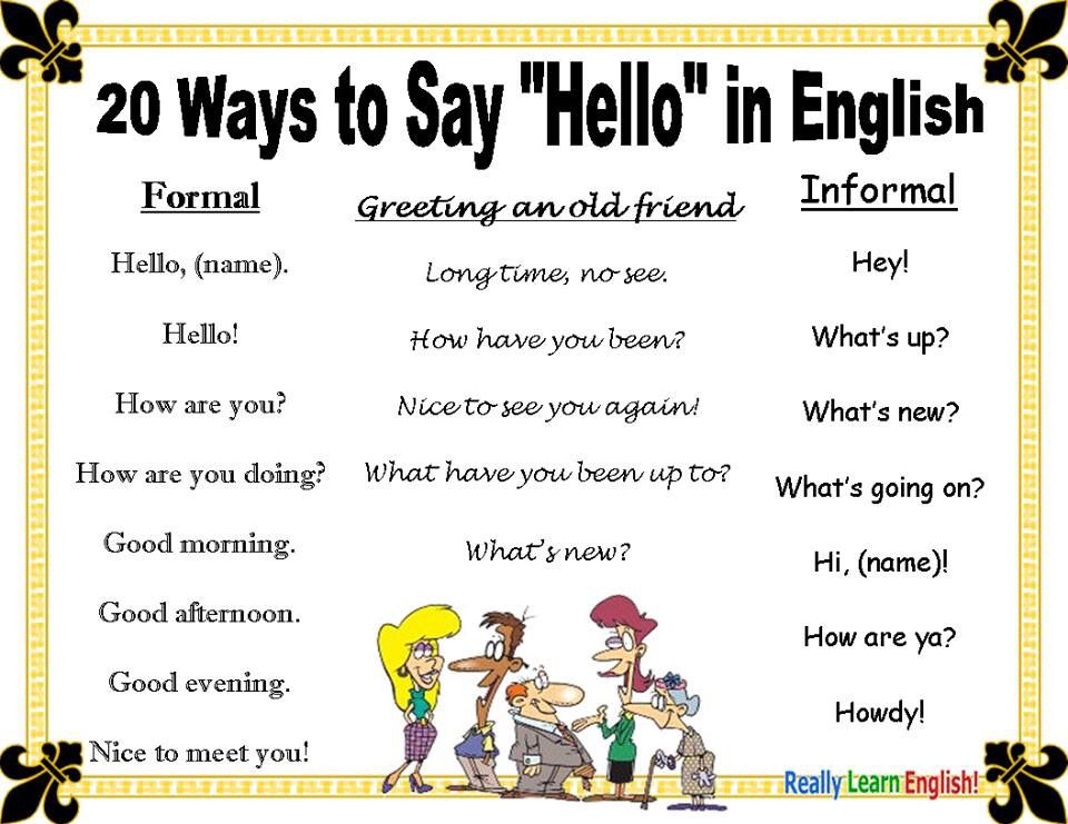 Different Ways To Say Hello Ways To Say Hello Learn English Learn English Vocabulary