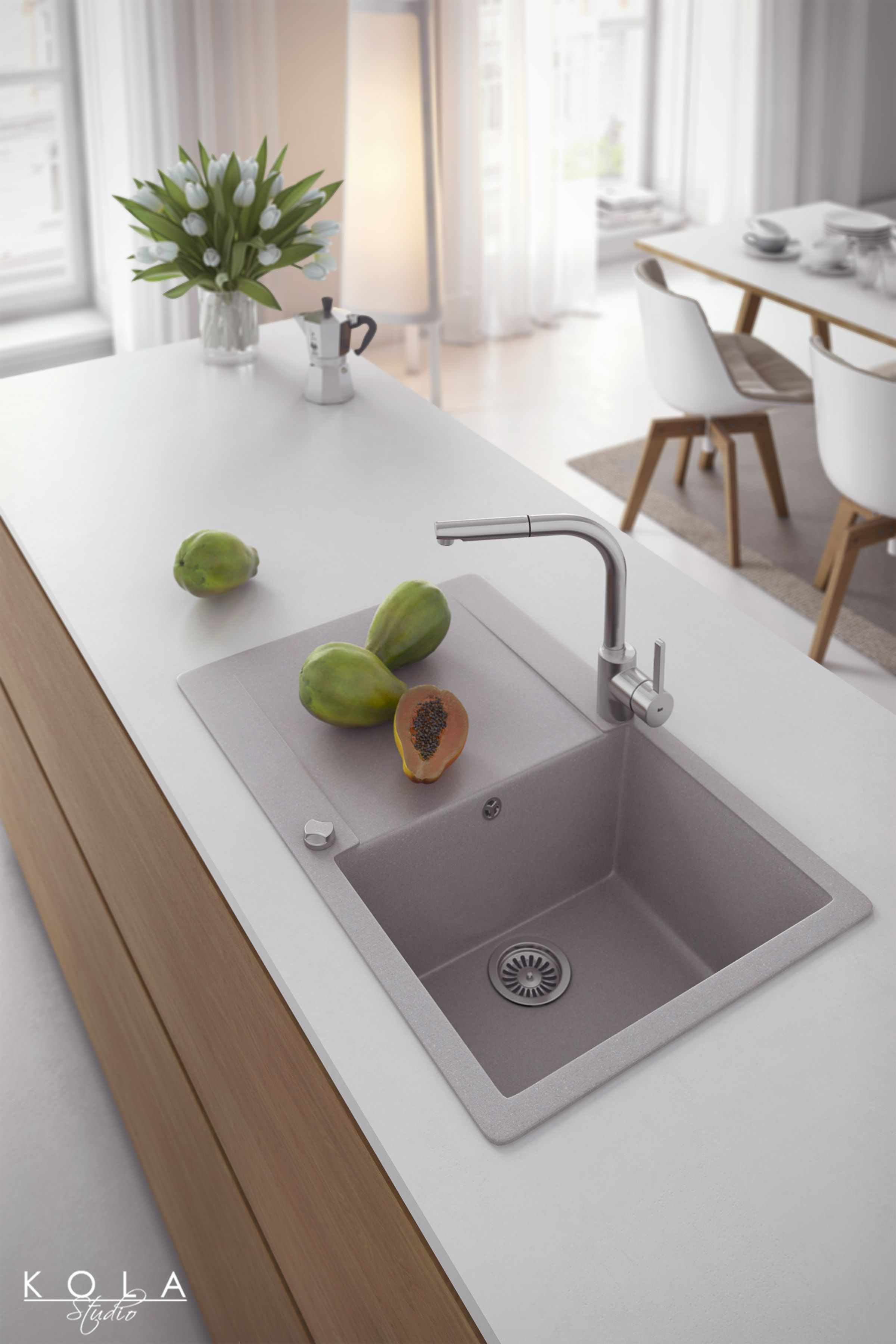 Kitchen Chrome Faucets And Quartz Sinks From New Teka Collection