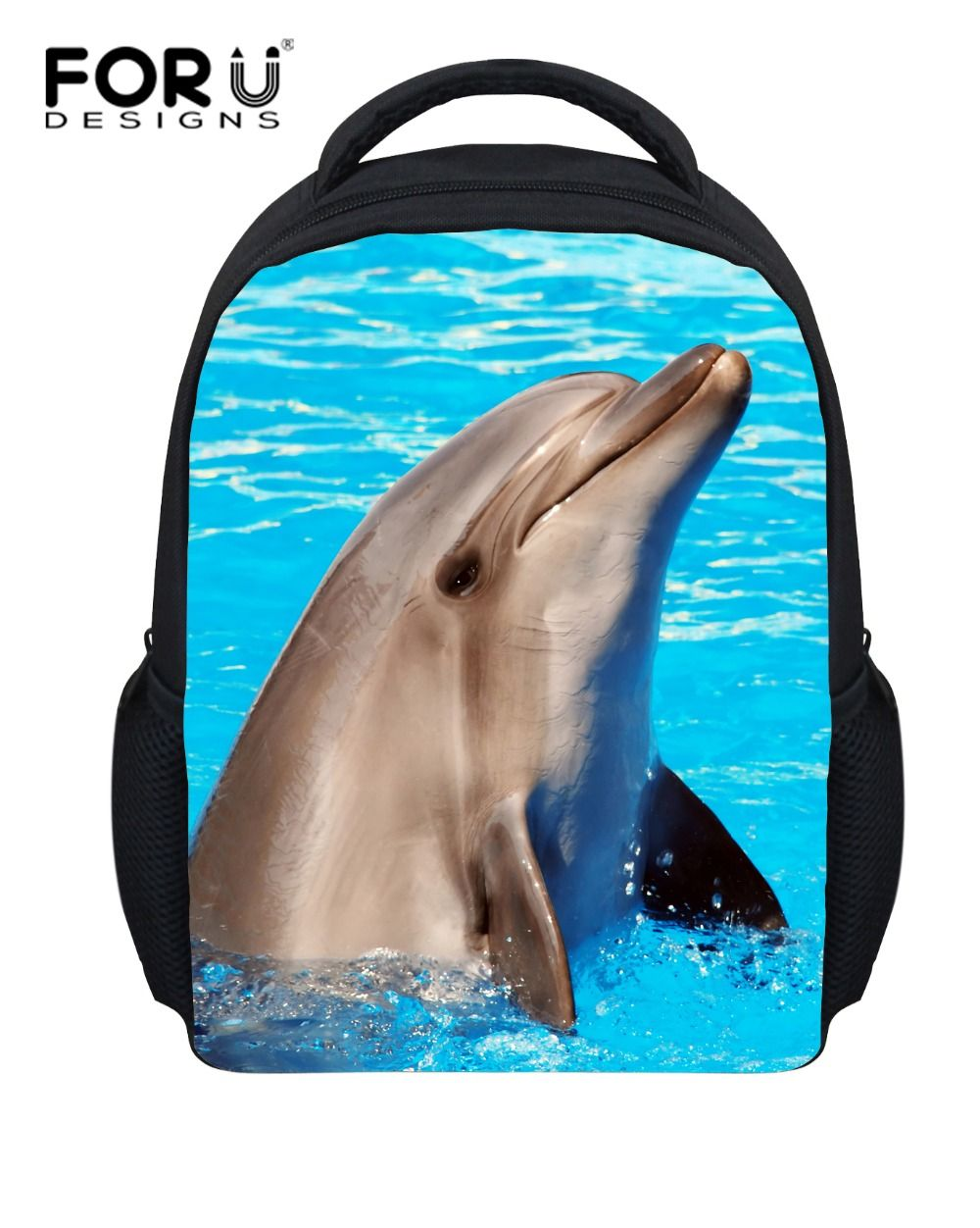 Blue 12 Inch Animal Dolphin Printing Backpack Primary Children Sac A Dos Little Girls Kindergarten Book Bags Mochila