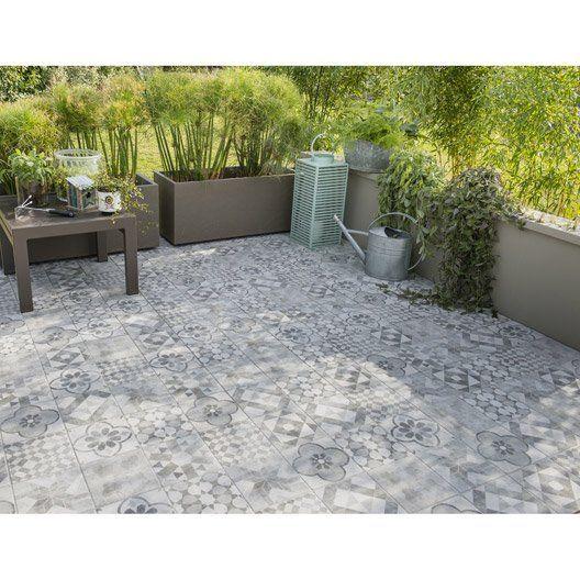 Carrelage sol gris blanc effet terre cuite villa l.20 x l.20 cm ...