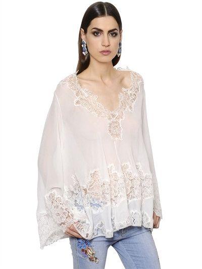 408597230adbf ERMANNO SCERVINO Silk Georgette Top W  Lace Details