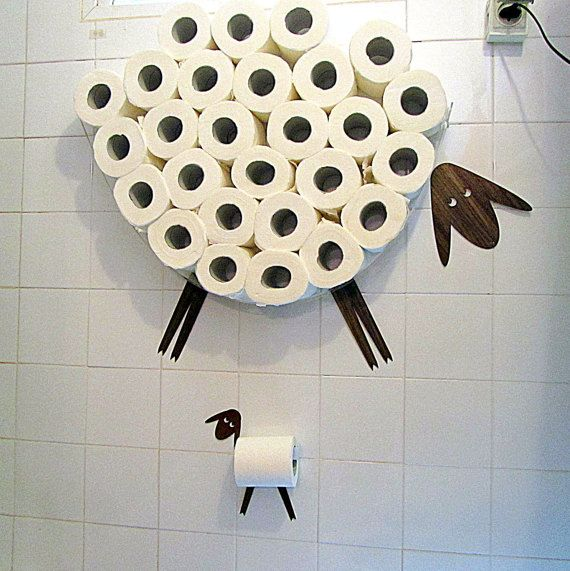 A Set of Funny Wall Decals: Sheep and Lamb - a wall shelf  for storage of toilet paper rolls and toilet roll holder