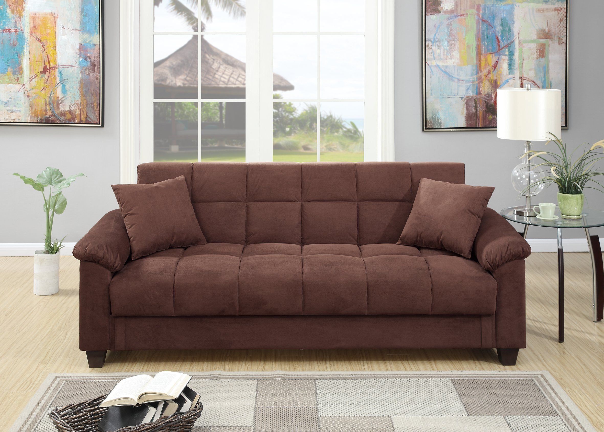 Romina Chocolate Microfiber Adjustable Sofa Bed By Poundex Read