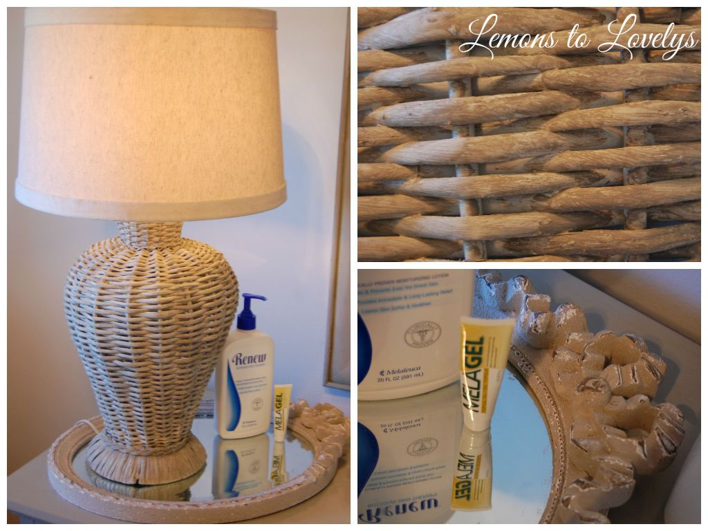 wicker lamp from painted with ASCP French linen. Mirror used as tray for changing  table supplies.