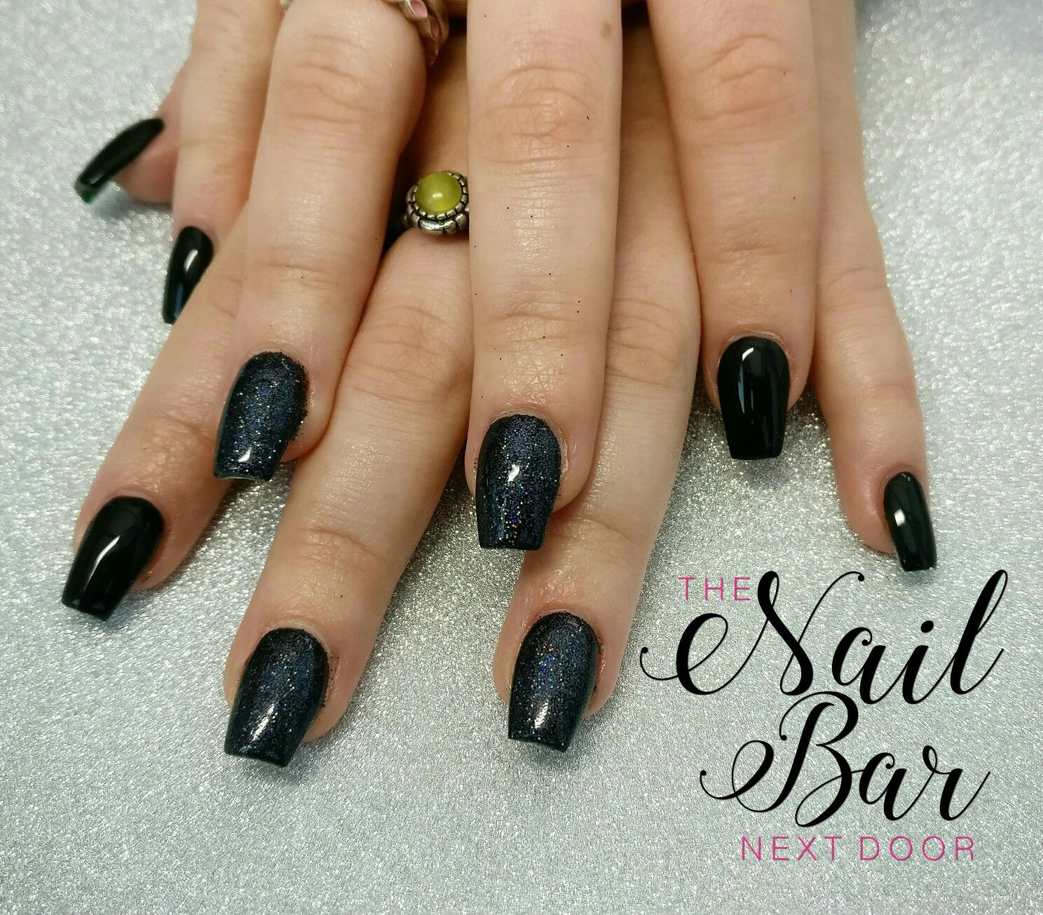 Black And Holographic Glitter Short Coffin Acrylic Nails Short Coffin Nails Nails Coffin Nails Matte