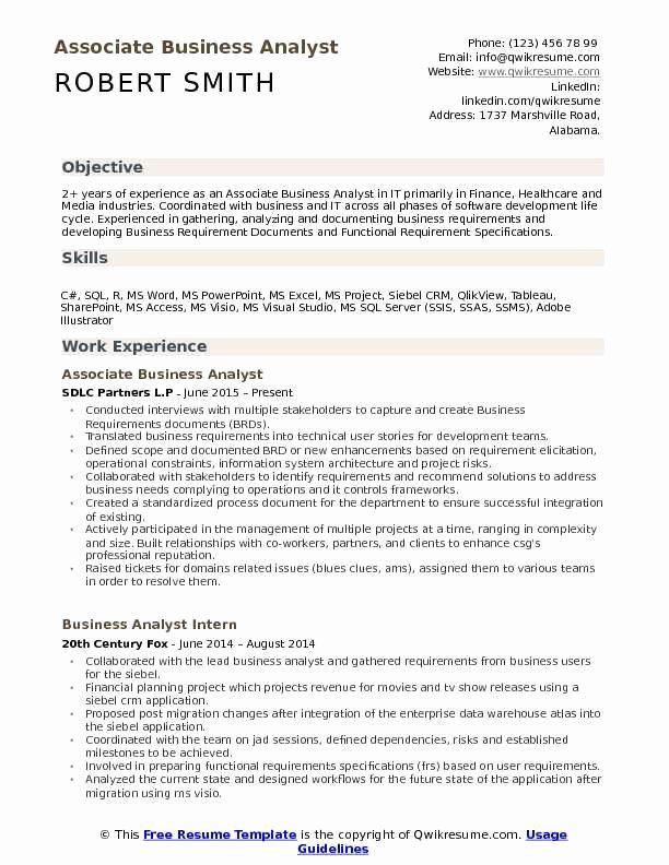 Business Analyst Resume Skills Fresh Associate Business Analyst Resume Samples Business Analyst Resume Business Analyst Resume Examples