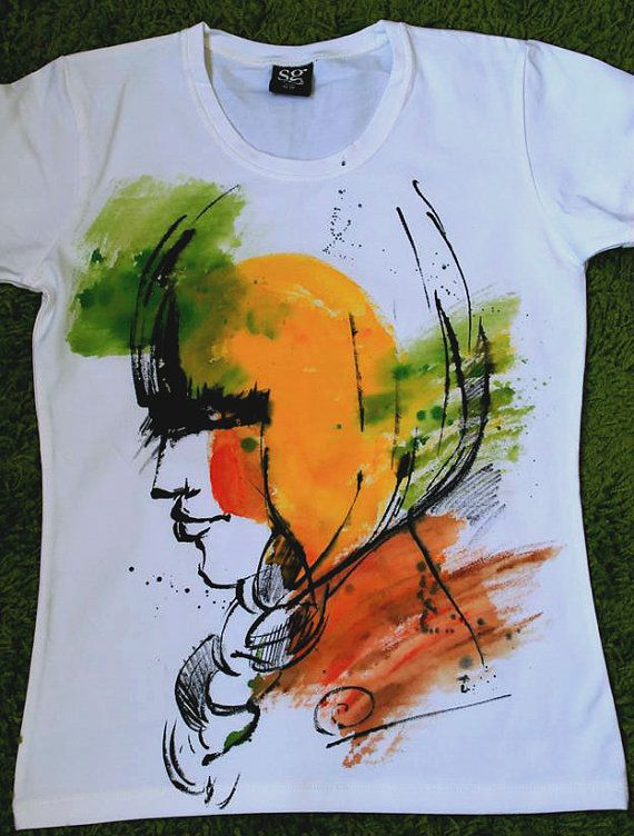 Woman In Profile Watercolor Tshirt Art By Palettepandora On Etsy