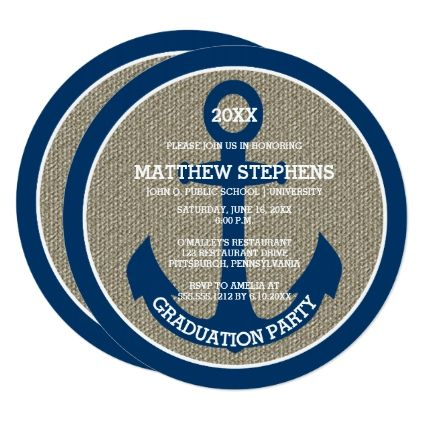 Blue Nautical Anchor | Burlap Graduation Party Card - graduation gifts giftideas idea party celebration