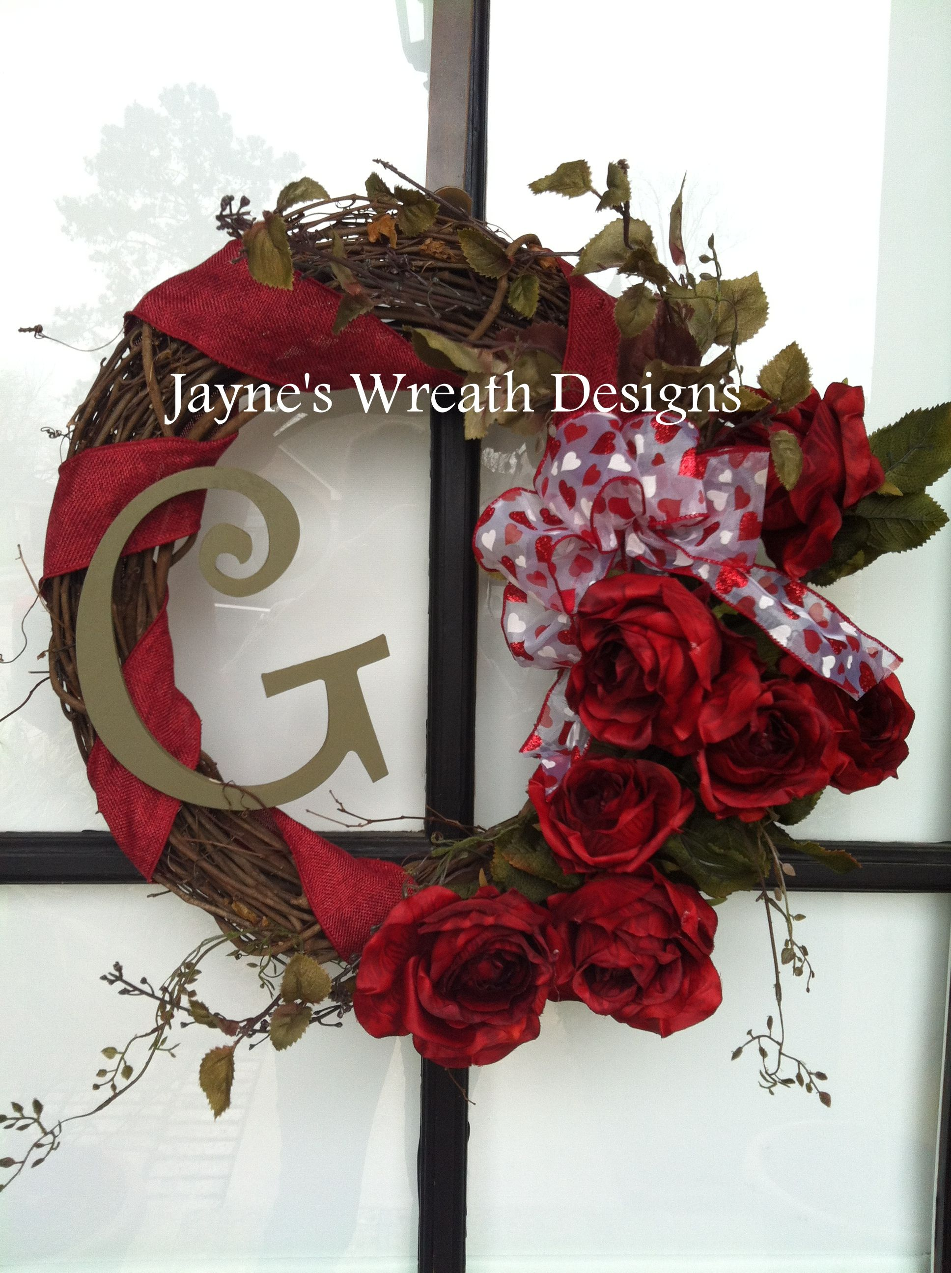 Valentine Grapevine Wreaths With Initial Roses Hearts Bow Valentine Decorations Valentine Wreath Wreaths