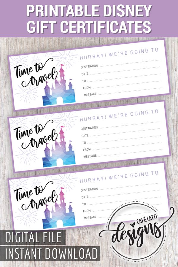 Christmas Gift Certificate, Gift Certificate Printable, Travel Gift