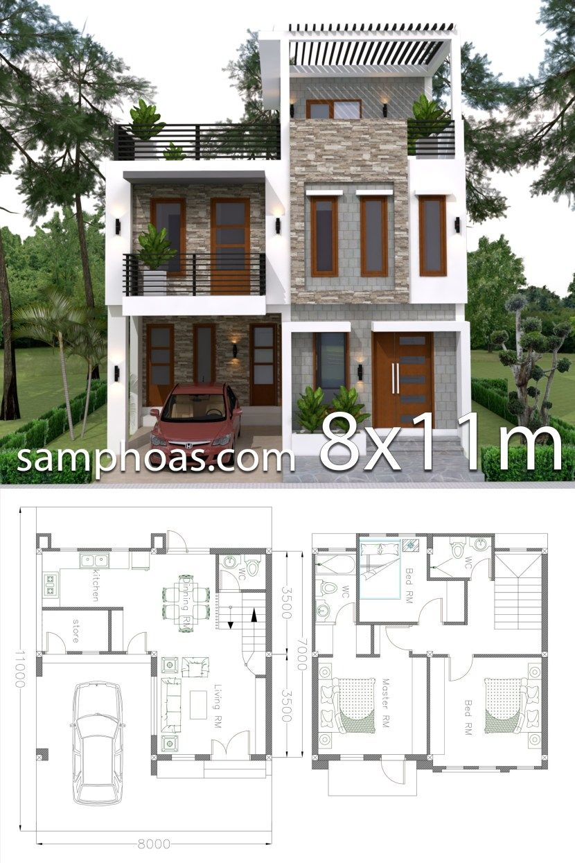 Home Design Plan 8x11m With 3 Bedrooms Two Story House Design
