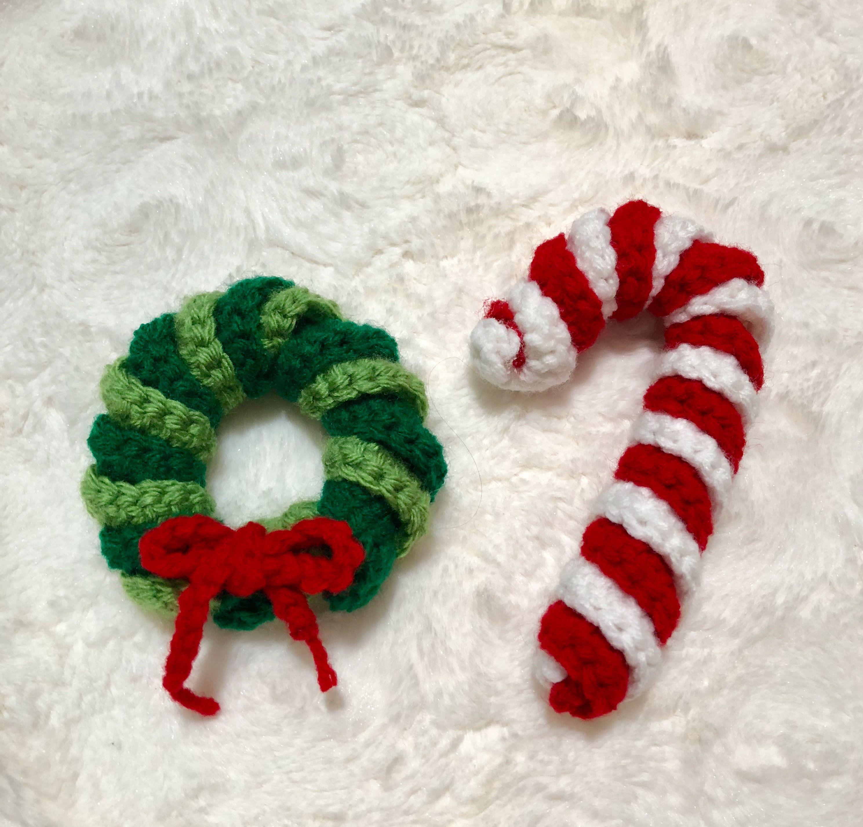 Crochet Christmas Ornaments Crochet Wreath Crochet Candy Cane Decoraciones Navidenas Crochet Christmas Ornaments Christmas Crochet Felt Christmas Ornaments