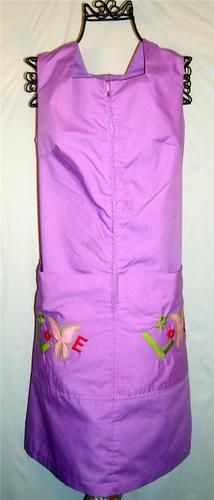 "Vintage Retro Disco 1970's purple ""love"" embroidered zip up house dress"