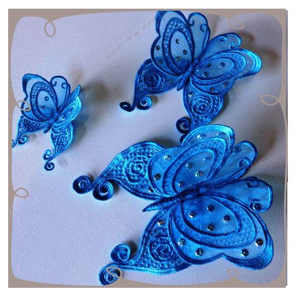 Organza Lace Butterfly 4 Butterflies Freestanding Lace