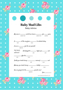 picture relating to Baby Shower Mad Libs Printable Free named absolutely free printable boy or girl shower match outrageous libs shabby stylish Youngster