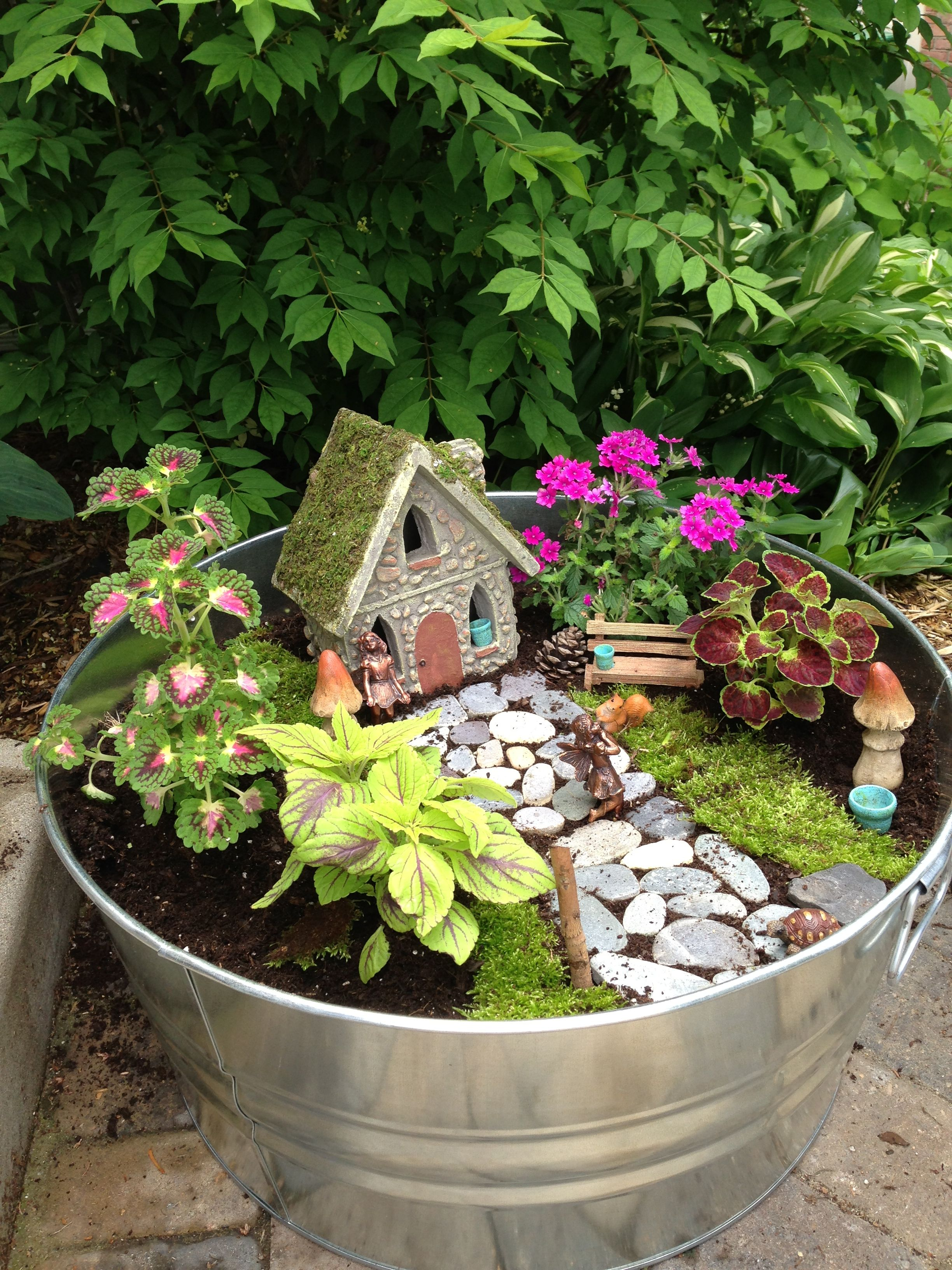 Outdoor Fairy Garden I Used Moss From Outside To Cover Open Areas