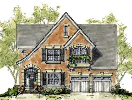 House Plan 67901 Narrow Lot Tudor Plan with 2051 Sq Ft, 3