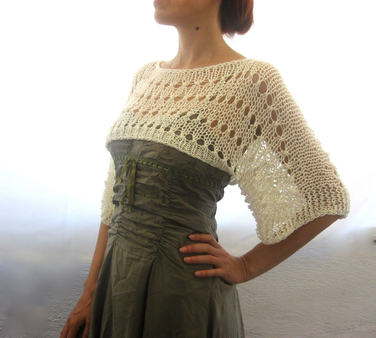 Cotton Summer Cropped Sweater Shrug, hand knitted, ecofriendly ...