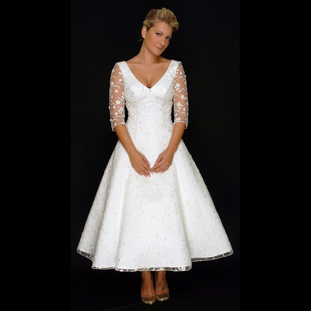 Details About Tea Length Wedding Dresses With Sleeves, Tea