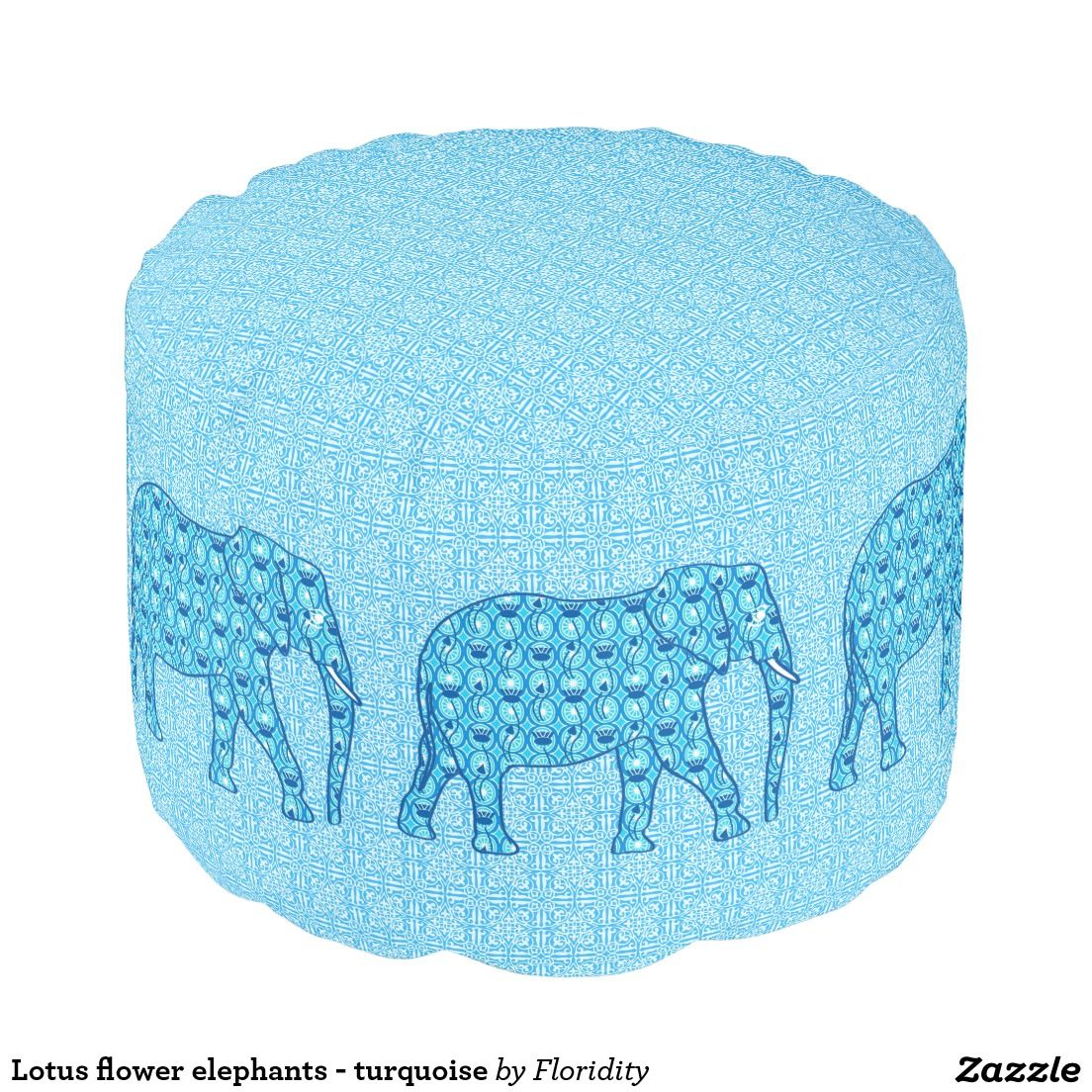 Lotus Flower Elephants Turquoise Pouf Ottoman Poufs From Zazzle