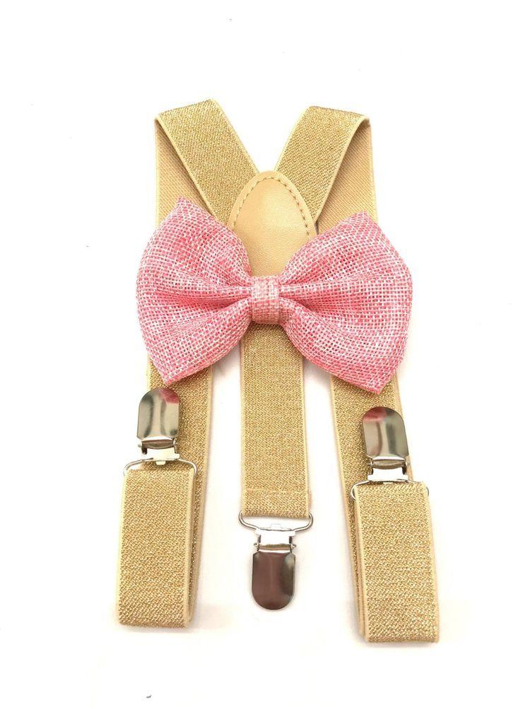 New Metallic Gold Suspender Bow Tie Matching Baby Toddler Kids Boys Girls Child