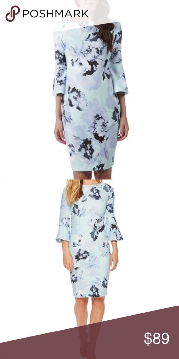 Calvin Klein Nwt Blue Flower Bell Sleeve Dress Nwt Bell Sleeve Dress Dresses Clothes Design
