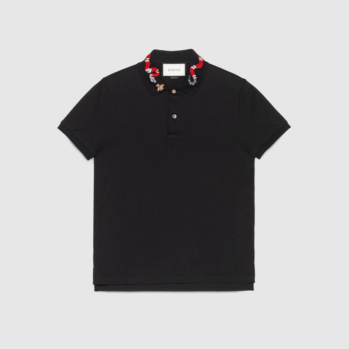 28b6b536 GUCCI Cotton polo with Kingsnake embroidery - black cotton. #gucci #cloth #
