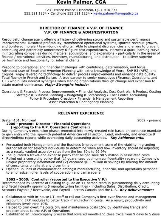 Director Of Finance | V.P. (Vice President) Of Finance And Administration  Resume Sample  Vice President Of Operations Resume