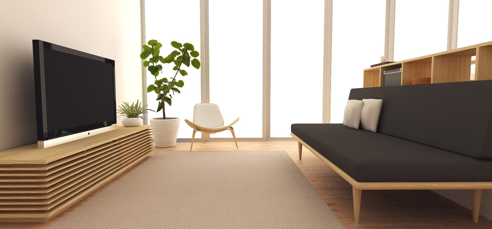 Minimalist tv console simple chair durable carpet and for Minimalist living space