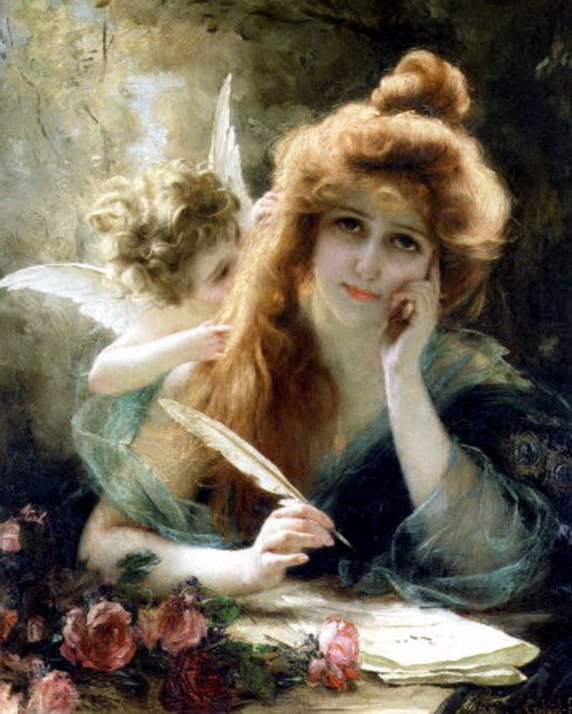 Print Angel Fairy Victorian Lady Writing Love Letter Sweetheart