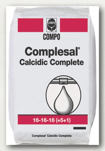 ΥΔΑΤΟΔΙΑΛΥΤΑ ΛΙΠΑΣΜΑΤΑ Complesal Calcidic Complete  Σύνθεση: 16-16-16 +5CaO+IXN  Υδατοδιαλυτό ΝΡΚ ισόρροπο λίπασμα πλούσιο σε ασβέστιο και ιχνοστοιχεία. Κατάλληλο για ενίσχυση των καλλιεργειών στις φάσεις υψηλής δραστηριότητας.  Συσκευασία: σάκοι των 25 κιλών.