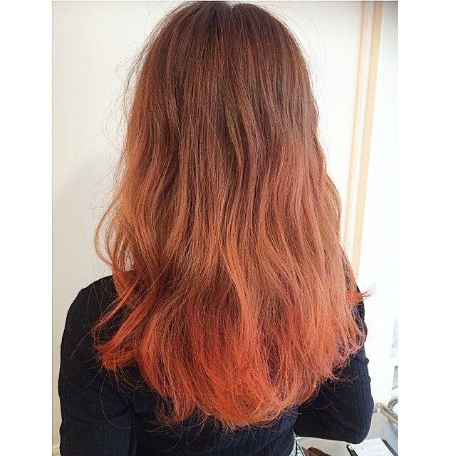 2015年秋冬流行の髪色 オレンジカラーで外国人風のヘアスタイルにして