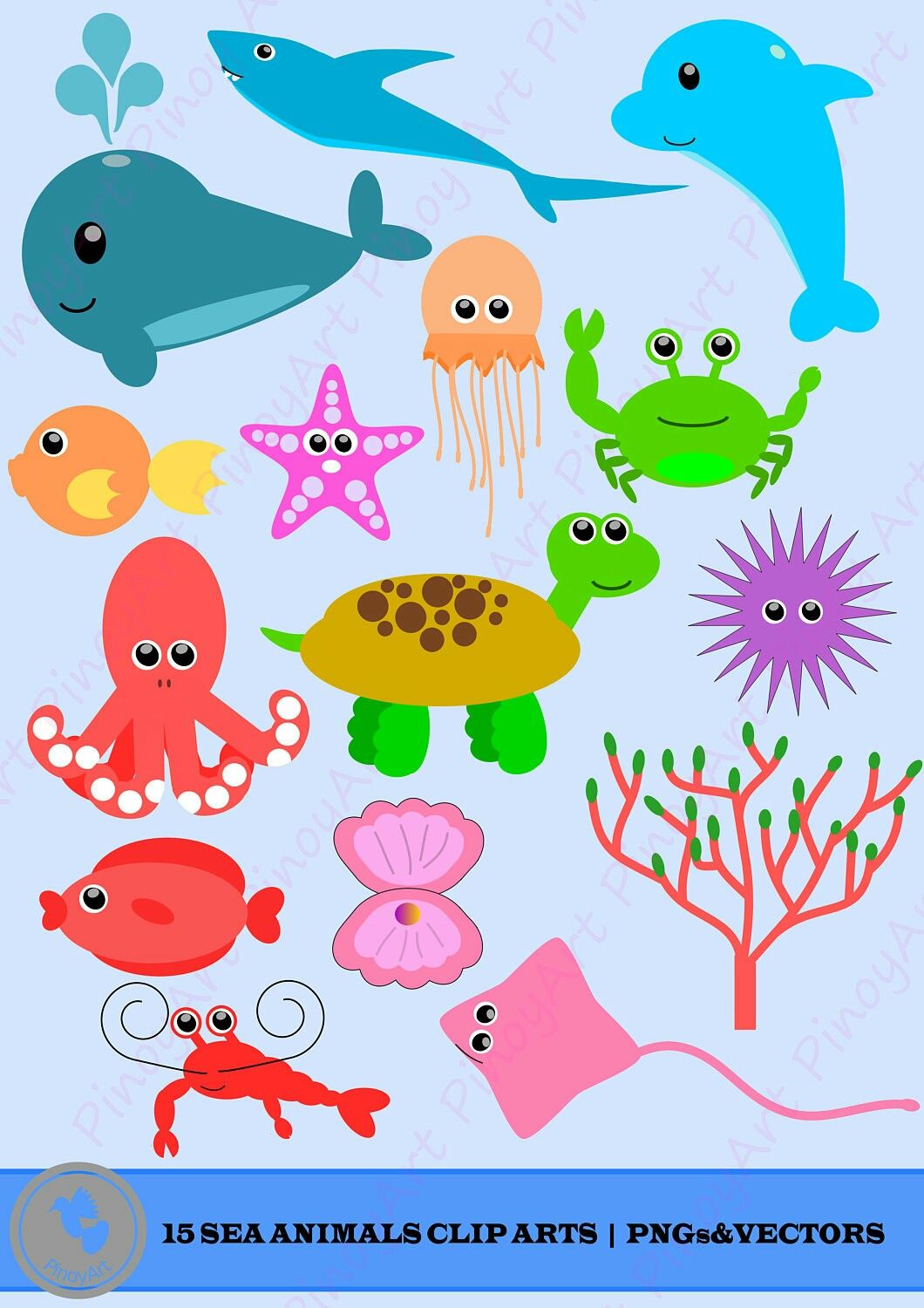 Sea Animals Clip Art Sea Creatures Clip Art Beach Clip Art