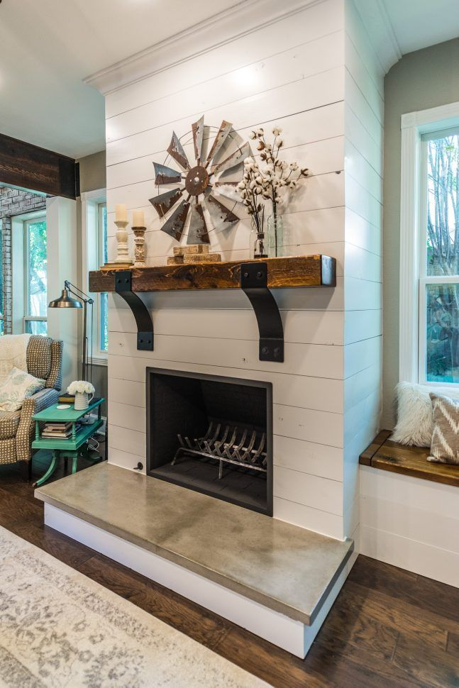 before after exposed pin house brick companies honey design and the renovation farmhouse fireplace shiplap
