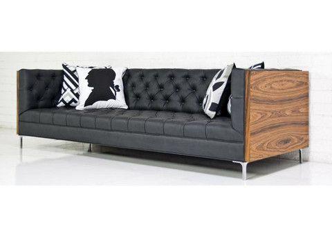 Koenig Sofa in Rosewood and Montana Smoke Faux Leather