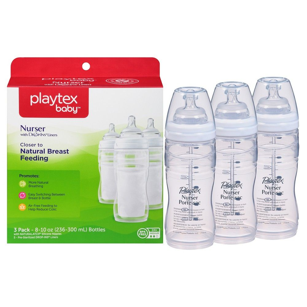 Playtex Baby Nurser Bottle with Drop-Ins Disposable Liners Closer to Breastfeeding with Hot Air Balloon Graphics 3 Pack 8 Ounce
