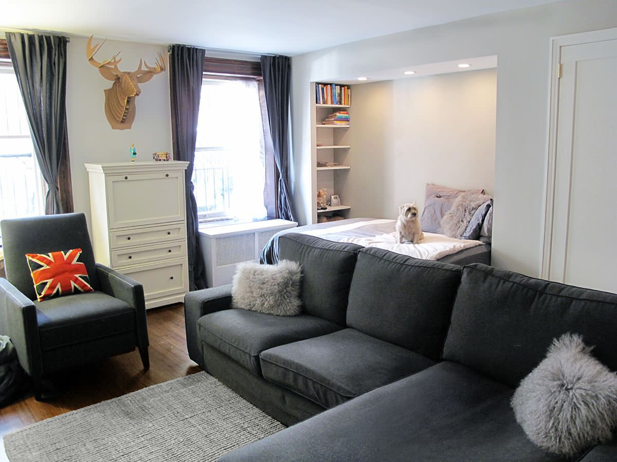 Smart Ways To Decorate Studio Apartment Look Bigger: Modern Sectional Sofa  For Decorate Studio Apartment With Armchair And Curtain Designs Plus  Dresser And ...