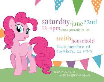My Little Pony Pinkie Pie Theme Birthday Invitation DIY