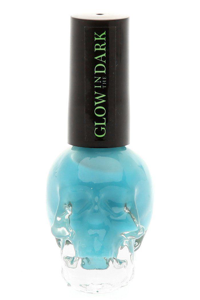 Bright blue glow in the dark nail polish in a skull bottle ...