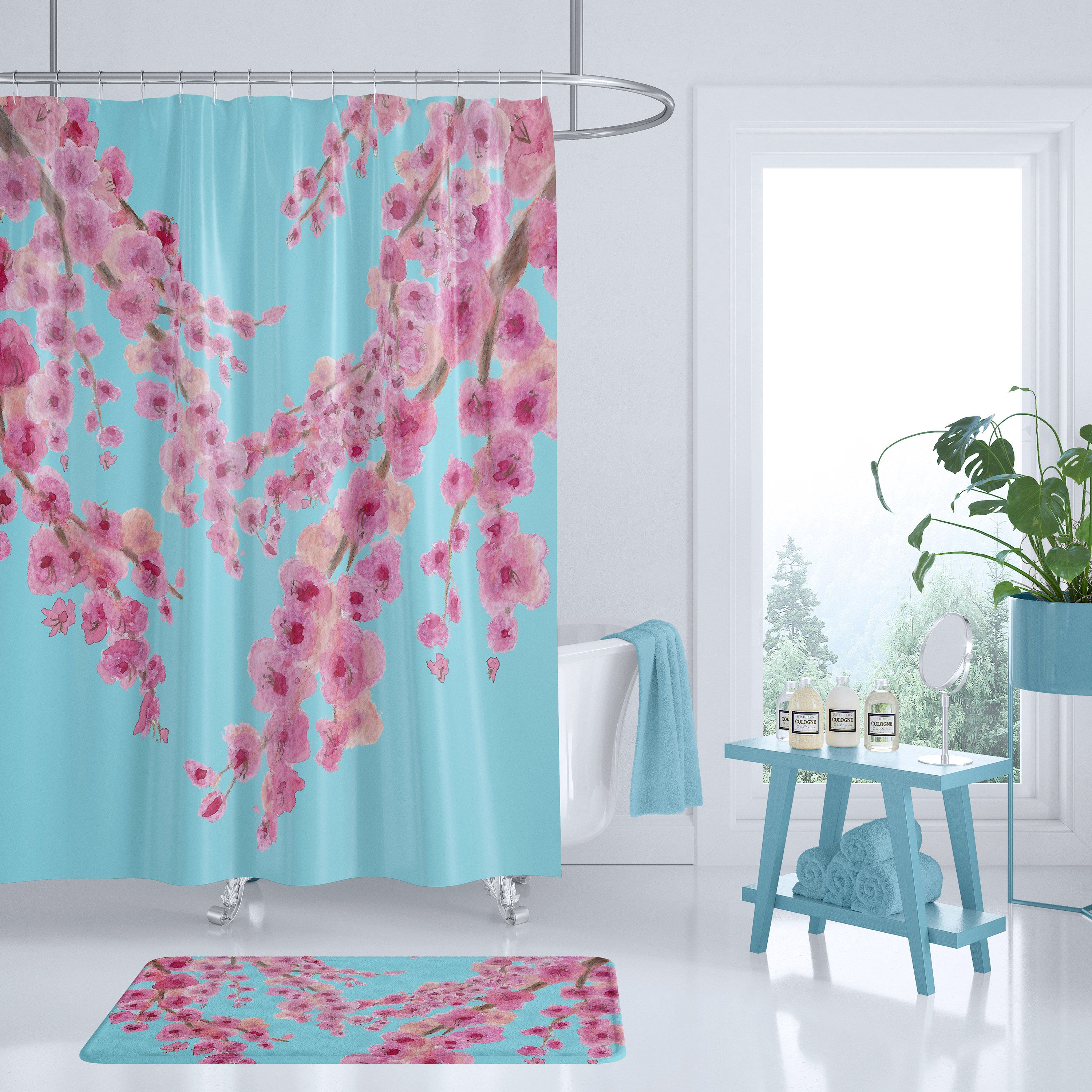 Cherry Blossom Floral Shower Curtain Pink And Blue Fabric Beautiful Bathroom Makeove Floral Shower Curtains Blue Shower Curtains Bathroom Shower Curtains