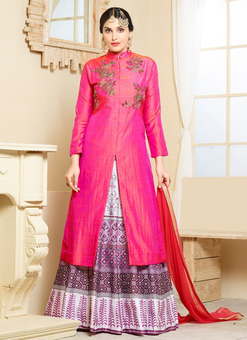 Sizzling Pink Silk Embroidered and Digital Print Designer Indo ...