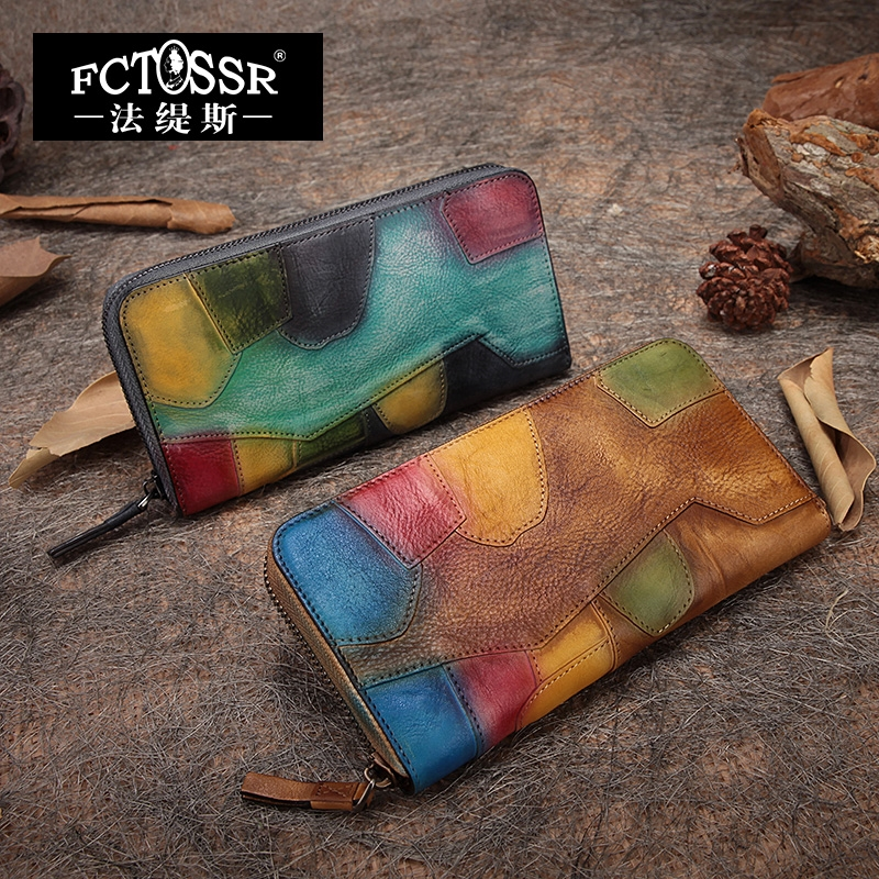 64.00$  Buy here - http://alixu5.worldwells.pw/go.php?t=32673969856 - 2017 Vintage Handmade Cowhide Color Block Zipper Women Wallet Genuine Leather Long Wallet Day Clutch