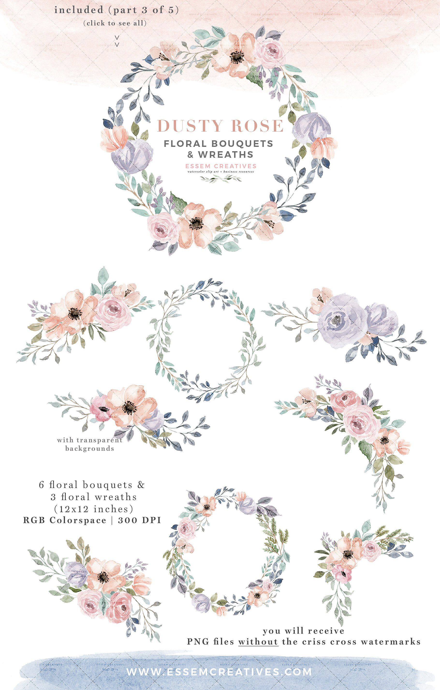 Dusty Rose Watercolor Flower Clipart Fles