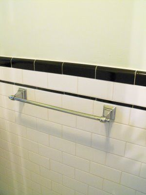 1930 S Bathroom With White Subway Tile And Black Trim White Subway Tile Bathroom 1930s Bathroom White Subway Tile