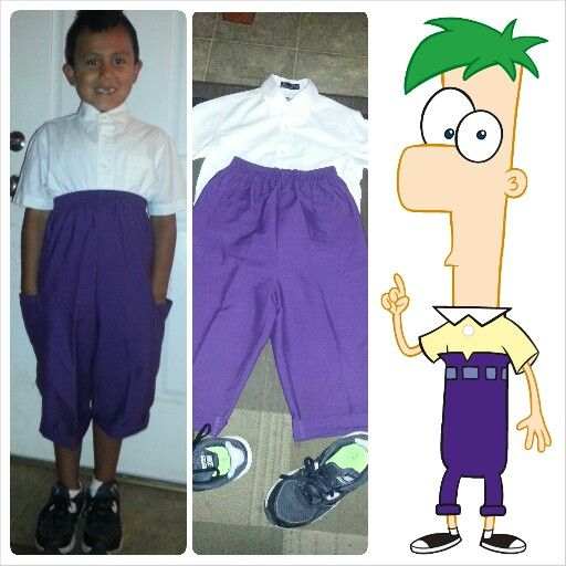 diy ferb costume from phineas and ferb i bought purple scrub pants cut them to - Phineas Halloween Costume