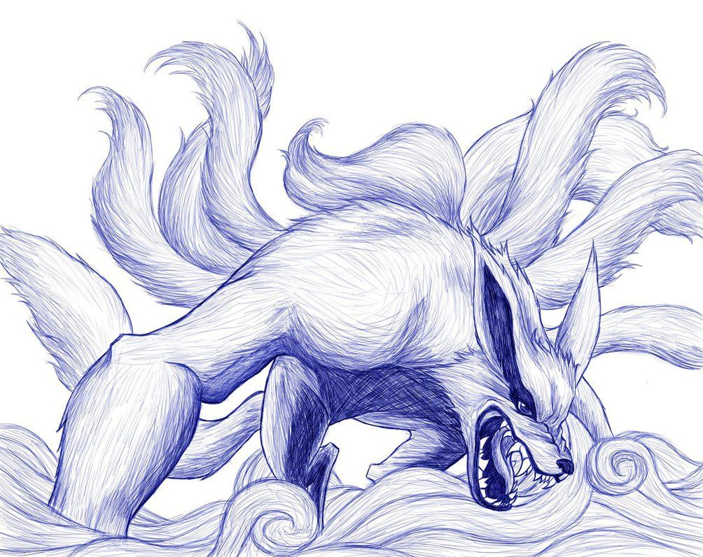 Kurama Naruto Naruto Kurama The Nine Tailed Fox Sketch By