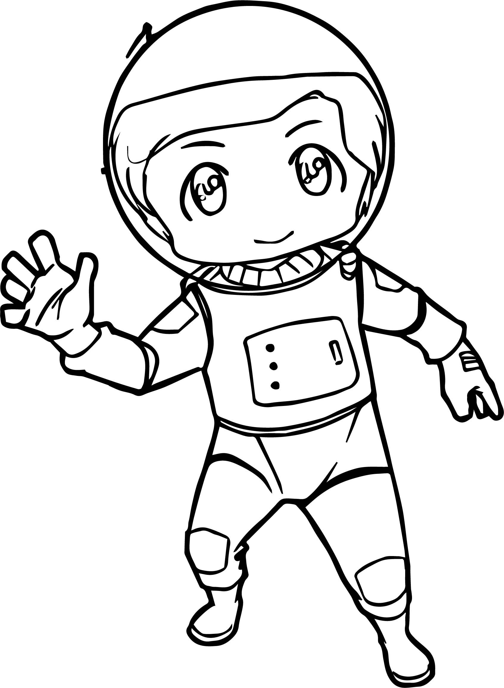 Chibi Kid Astronaut We Coloring Page