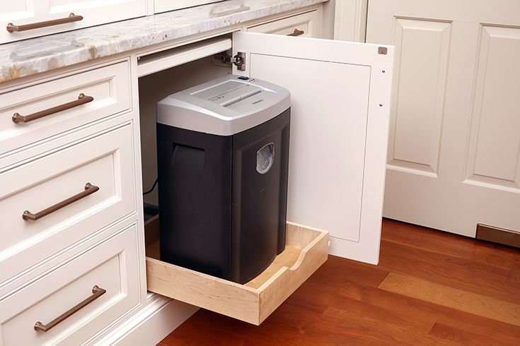 Custom Built Pull Out Compartment For Paper Shredder Paper