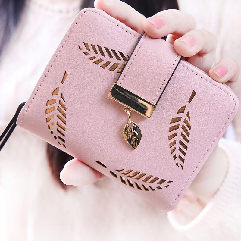 3709504957 Gold Leaves Hollow 2017 Designer Famous Brand Luxury Women's Wallet Purse  Female Small Wallet Cuzdan Purse Lady Short Carteras